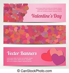 Valentines Day horizontal vector banners on blue backgrounds