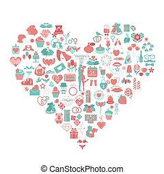 Valentine`s day icon set. Romantic design elements isolated on white