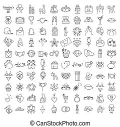 Valentine`s day icon set. Romantic design elements isolated on white. Thin line version
