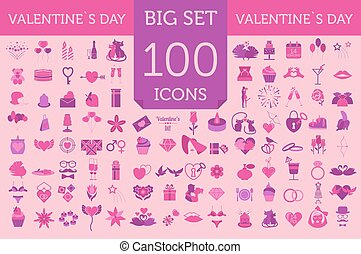 Valentine`s day icon set. Romantic design elements isolated on white.