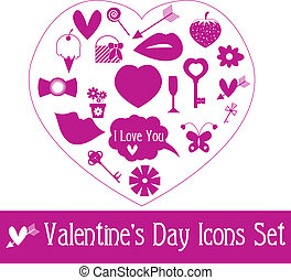 Valentine\'s Day Icon Set. Vector