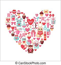 Valentines Day icons in heart shape.