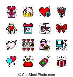 Valentines Day icons set, vector illustration