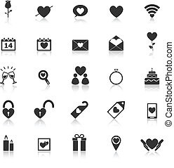 Valentine's day icons with reflect on white background, ...
