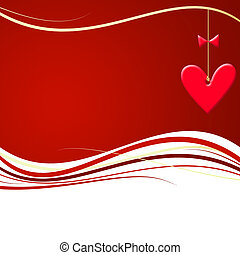 Valentines Day illustration - Red valentines waves with...