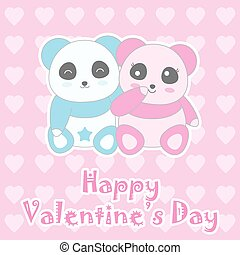 Valentine's day illustration with cute baby boy and girl panda on love background