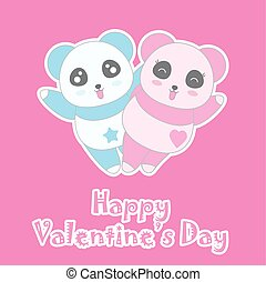 Valentine's day illustration with cute boy and girl panda on pink background