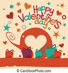 Valentines Day - Happy Valentines Day Greeting Elephant