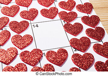 Valentines day in agenda with heart