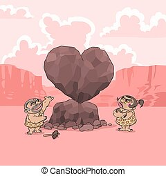 At Valentine's Day a man of Stone Age presents his girlfriend a big heart shaped stone