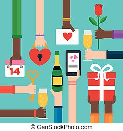 Valentines day international flat
