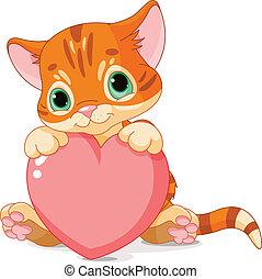 Valentines Day Kitten - Cute little kitten holding Love...