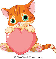Valentines Day Kitten - Cute little kitten holding Love...