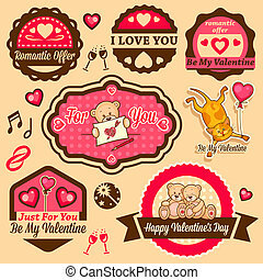 valentine`s day labels - Valentine`s Day Vector Set - labels...
