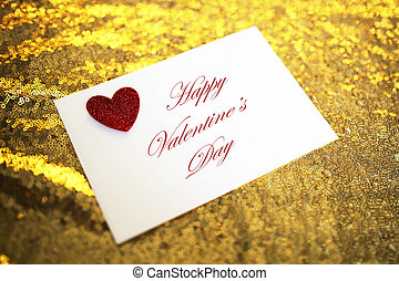 Valentine's Day Letter in Envelope with Red Heart on Sparkly Gold Background