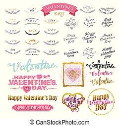 Valentine`s Day Lettering Design Set. Calligraphic design elements. Vector illustration
