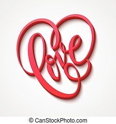 Valentines Day Lettering Love. Vector illustration