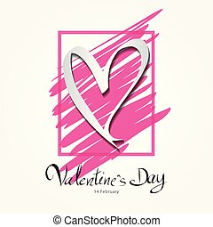 Valentine's Day lettering on pink frame vector illustration banner template, greeting card, web icon, white heart shape, header, Lettering Valentine's day, headline