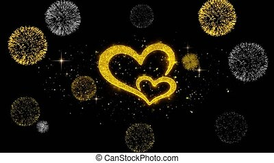Valentine's day love and hearts Golden Particles with Golden Fireworks Display