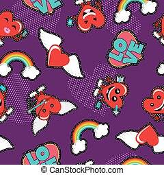 Valentines day love emoji patch seamless pattern