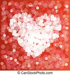 Valentines day love heart shape bokeh card background