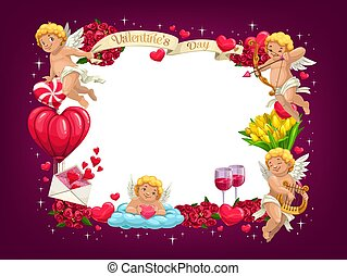 Valentines Day love hearts and flying Cupids frame