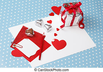 Valentine's day love message, unfinished, with gift box