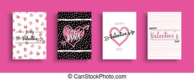 Valentines Day love quote greeting card set