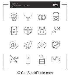 Valentines day, Love, Romantic and more line icons. Design for poster, card, invitation, placard, brochure, flayer, pamphlet.