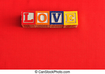 Valentine's Day. Love Spelled with colorful alphabet blocks