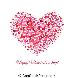 Valentines day love vector background with heart from hearts isolated on white