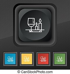 valentine's day meal icon symbol. Set of five colorful, stylish buttons on black texture for your design. Vector