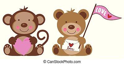 Valentines Day Monkey and Teddy Bear