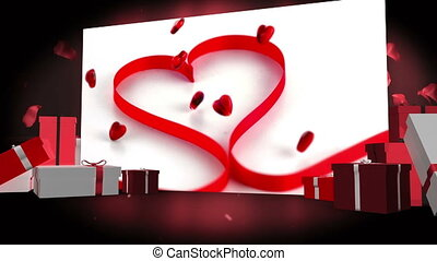 Valentines day montage with gift box illustrations and red...