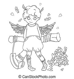 Valentine's day. Naughty cute curly Cupid-boy with slingshot behind his back, wings and a bunch of hearts.