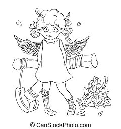 Valentine's day. Naughty cute curly Cupid-girl with slingshot behind her back, wings and a bunch of hearts.
