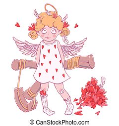 Valentine's day. Naughty cute curly Cupid-girl with slingshot behind her back, wings and halo.
