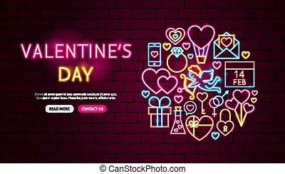 Valentine's Day Neon Banner Design