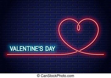 Valentines day neon banner. Valentines heart neon