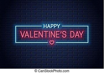 valentines day neon banner. with valentine heart