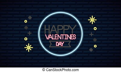 valentines day neon label animated with circular frame