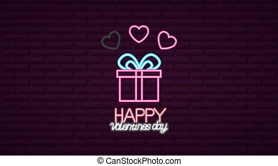 valentines day neon label animated with giftbox