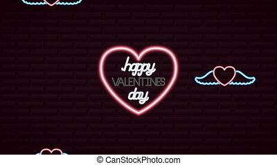 valentines day neon label animated with heart