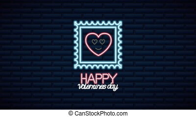 valentines day neon label animated with heart character