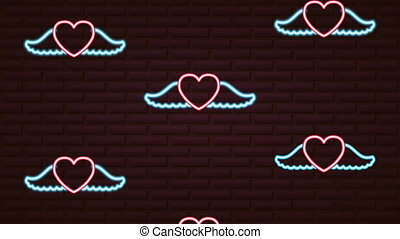 valentines day neon label animated with hearts flying