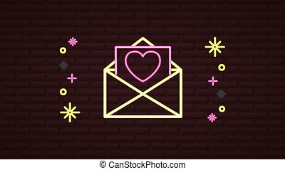 valentines day neon label animated with love envelope