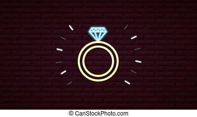 valentines day neon label animated with proposal ring