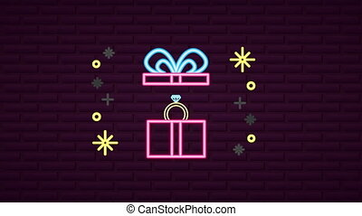 valentines day neon label animated with ring in gift