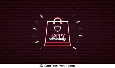 valentines day neon label animated with shopping bag