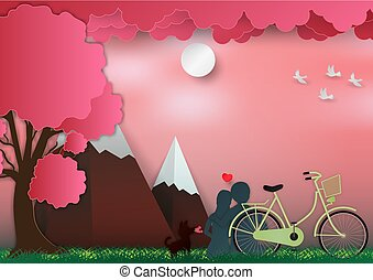 Valentines day on pink background with man and woman in love have bike and a tree. paper art style. vector illustration